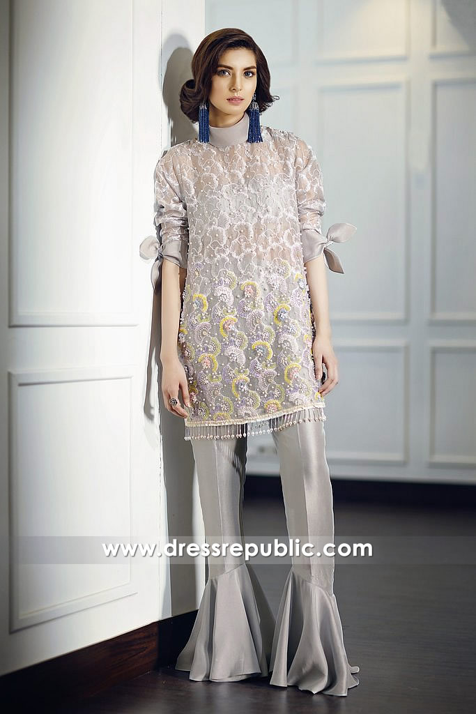 DR14680 Pakistani Designer Party Wear Dress 2018 in Grey Silver USA, Canada