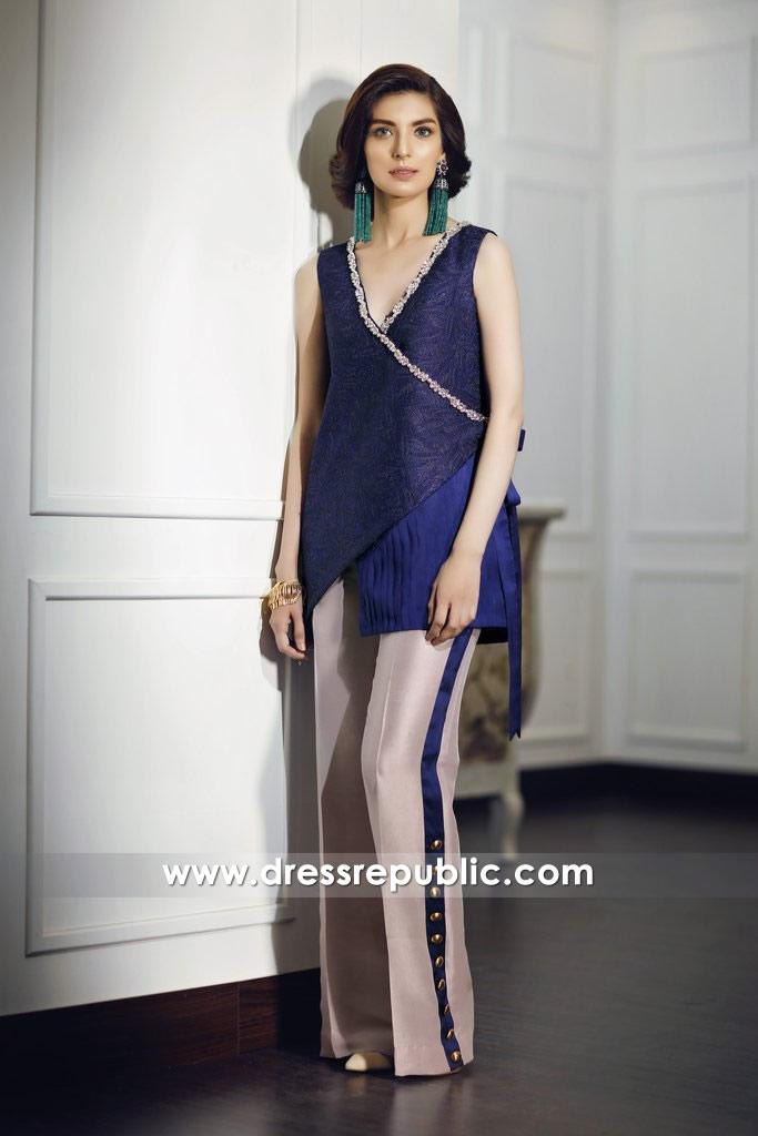 DR14682 Pakistani Designer Party Wear Dresses 2018 in Blueberry UK, Ireland
