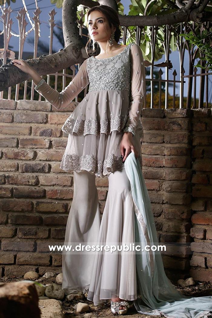 DR14708 Pakistani Designer Peplum Dresses 2018 USA, Canada, UK, Australia