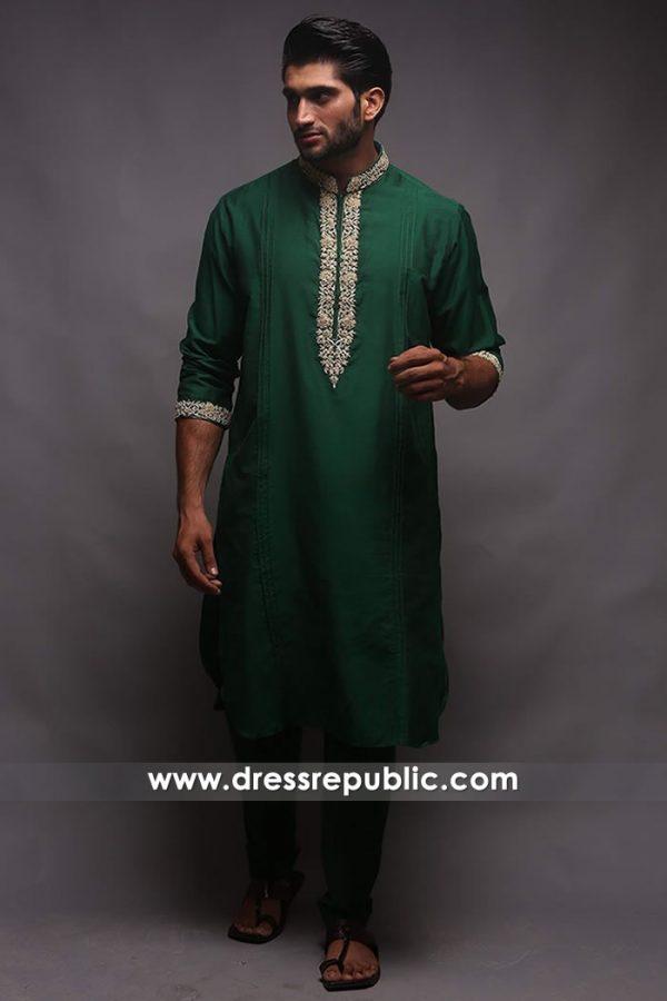 DRM5198 Green Festive Man's Kurta Shalwar for Mehndi, Mayoon, Sangeet