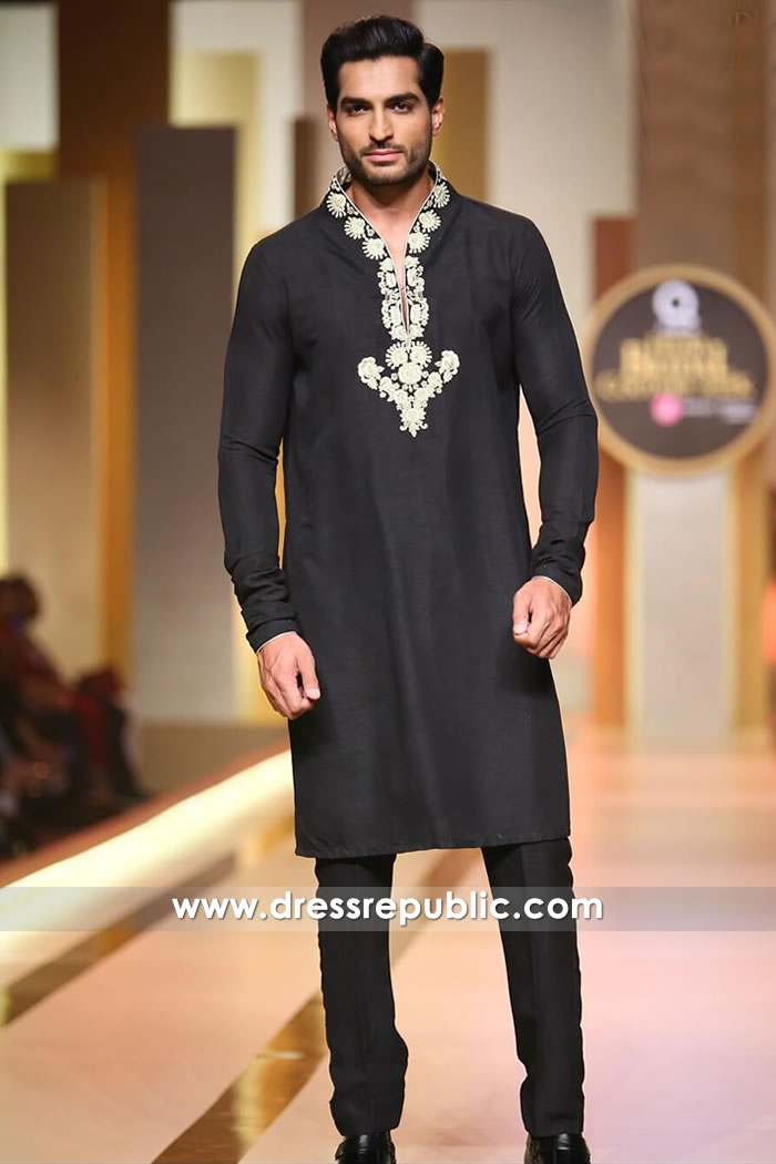 DRM5199 Black Embroidered Man's Kurta for Eid USA, Canada, UK, Australia