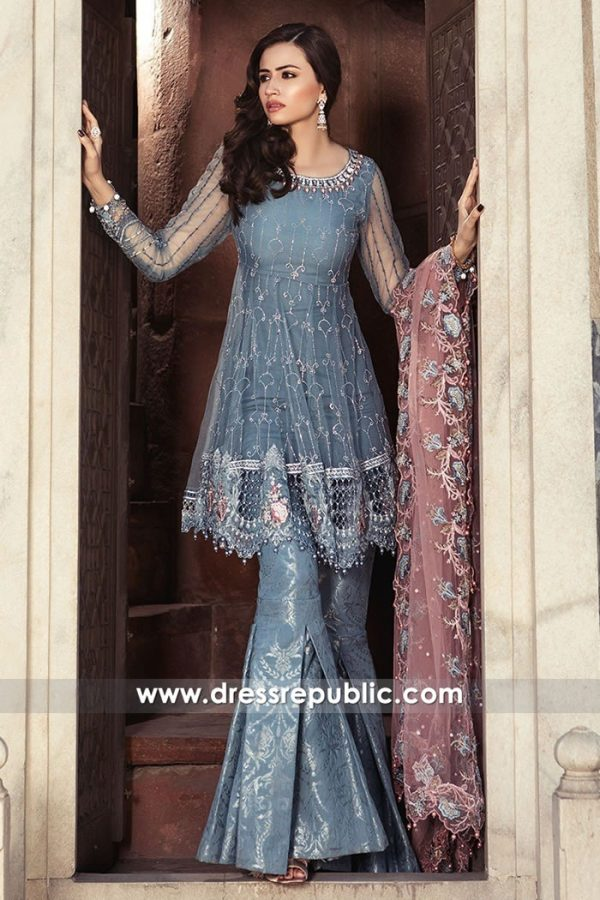 DRP7601 Maria B Eid Collection 2018 London, Manchester, Birmingham, England. Buy Original Maria B Mbroidered Festive Eid Collection 2018 with custom made-to-measure premium quality fine stitching and worldwide delivery service via at Dress Republic Fashion Store.