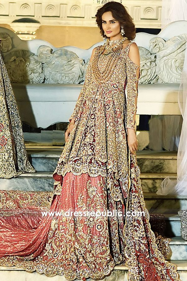 DR14713b Red Bridal Lehenga with Peplum Shirt 2018 Collection USA, UK, Canada