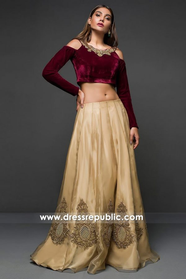 DR14716 Maroon and Beige Lehenga, Pakistani Indian Dress in Maroon & Beige