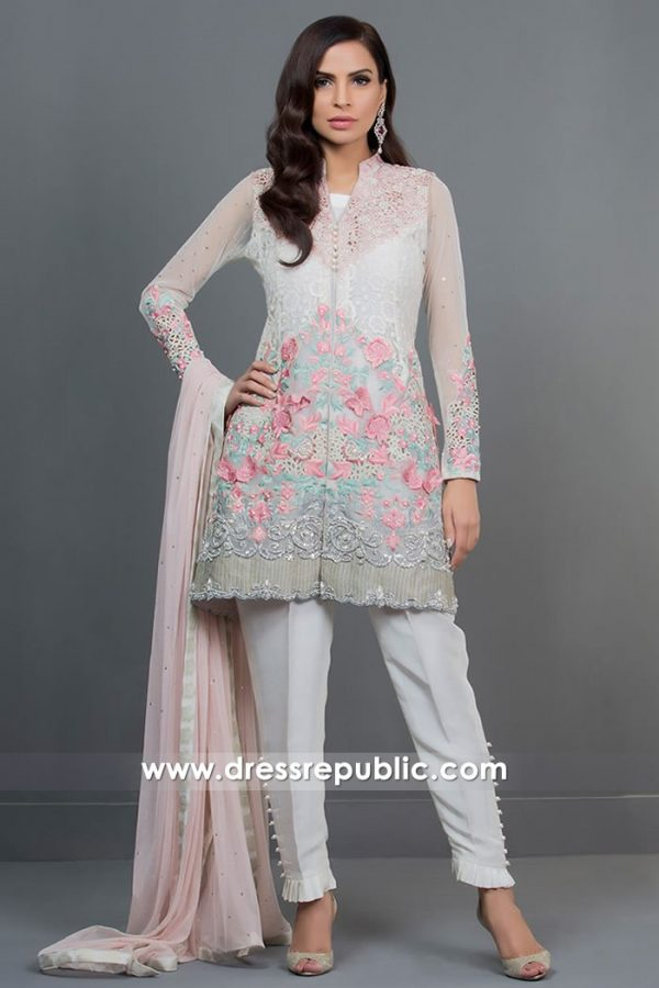 DR14722 Pakistani Designer Dresses 2018 Floral Embroidery in Off White Color