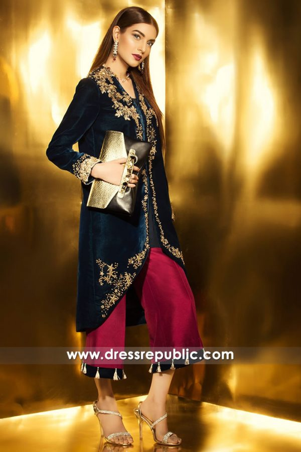 DR14740 Pakistani Designer Velvet Dresses for Winter in USA, Canada, UK