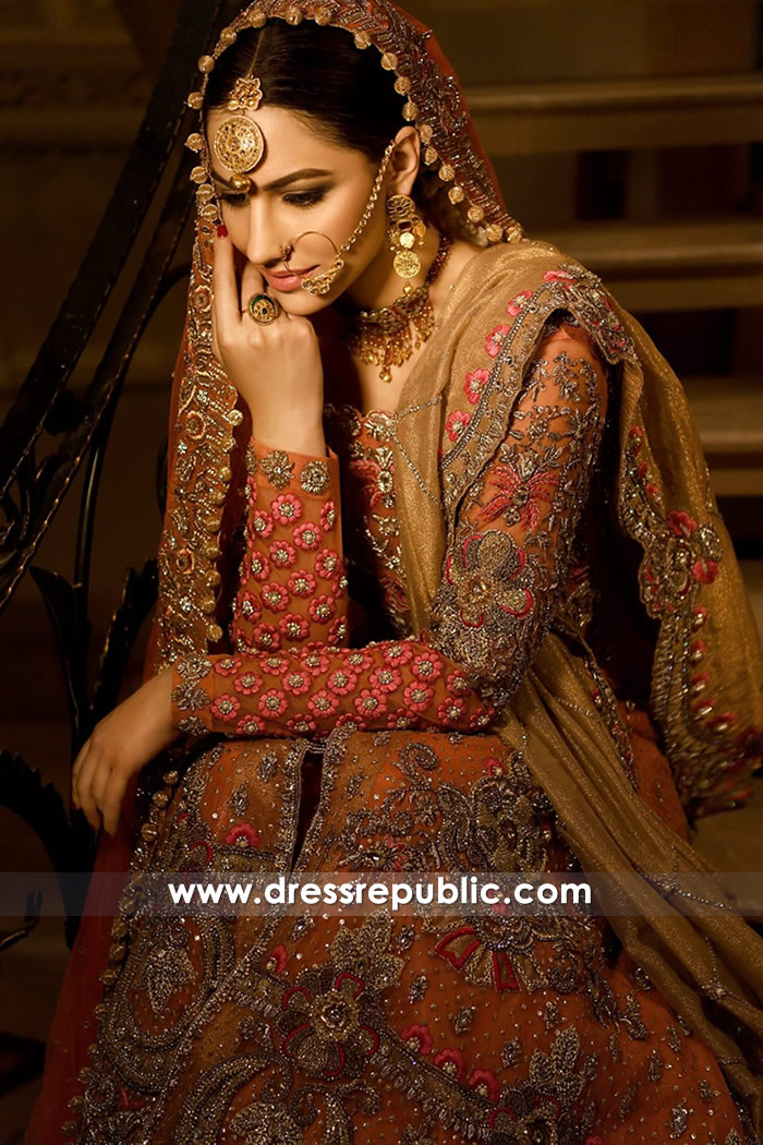 DR14779 Pakistani Bridal Dress with Long Train 2018 USA, UK, Canada, Australia