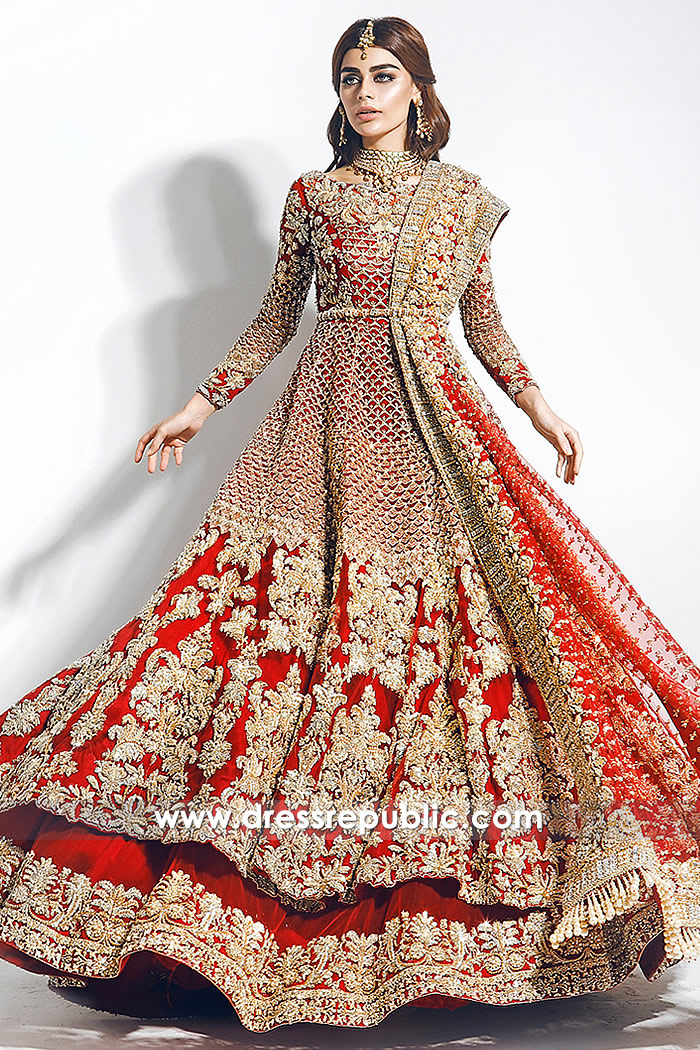 DR14781 Desi Red Bridal Lehenga Choli for Sikh Bride, Sikh Wedding Dress USA