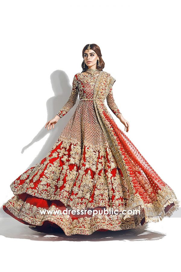 DR14781b DR14781 Desi Red Bridal Lehenga Choli for Sikh Bride, Sikh Wedding Dress USA