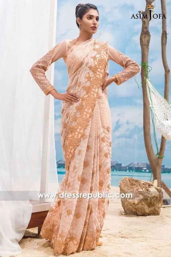 DRP7712 Asim Jofa Chiffon Embroidered Saree Eid 2018 Collection with Stitching