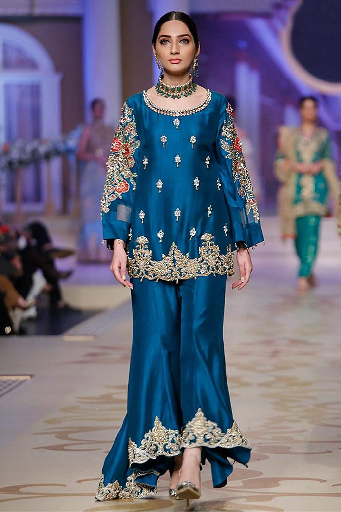 DR14865 Sister of the Groom Dress UK Buy Blue Katan Silk Sharara 2018 Collection