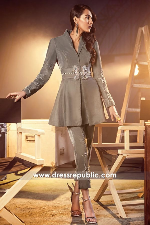 DR14881 Pakistani Designer Jacket Style Dress with Handmade Embellishments