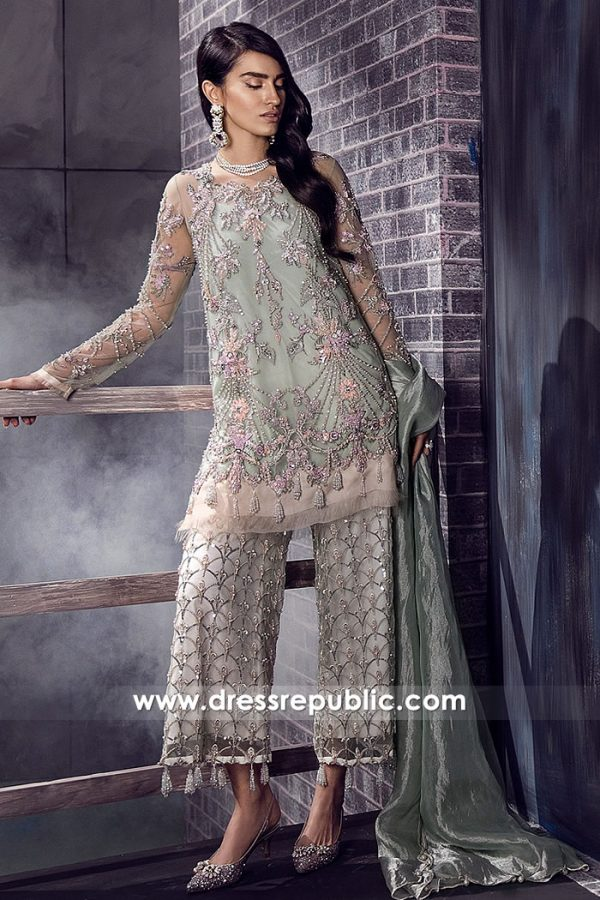 DR14884 Pakistani Designer Dress with Embellished Pants Buy Online