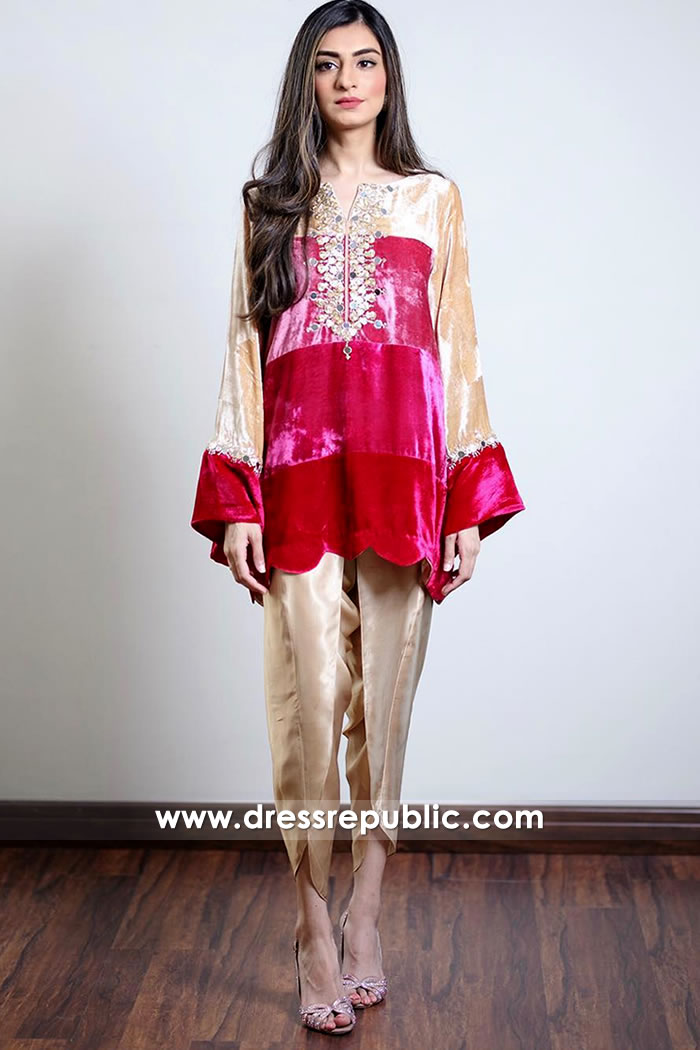 DR14913 Pakistani Designer Velvet Kurti UK With Tulip Pants Shop Online
