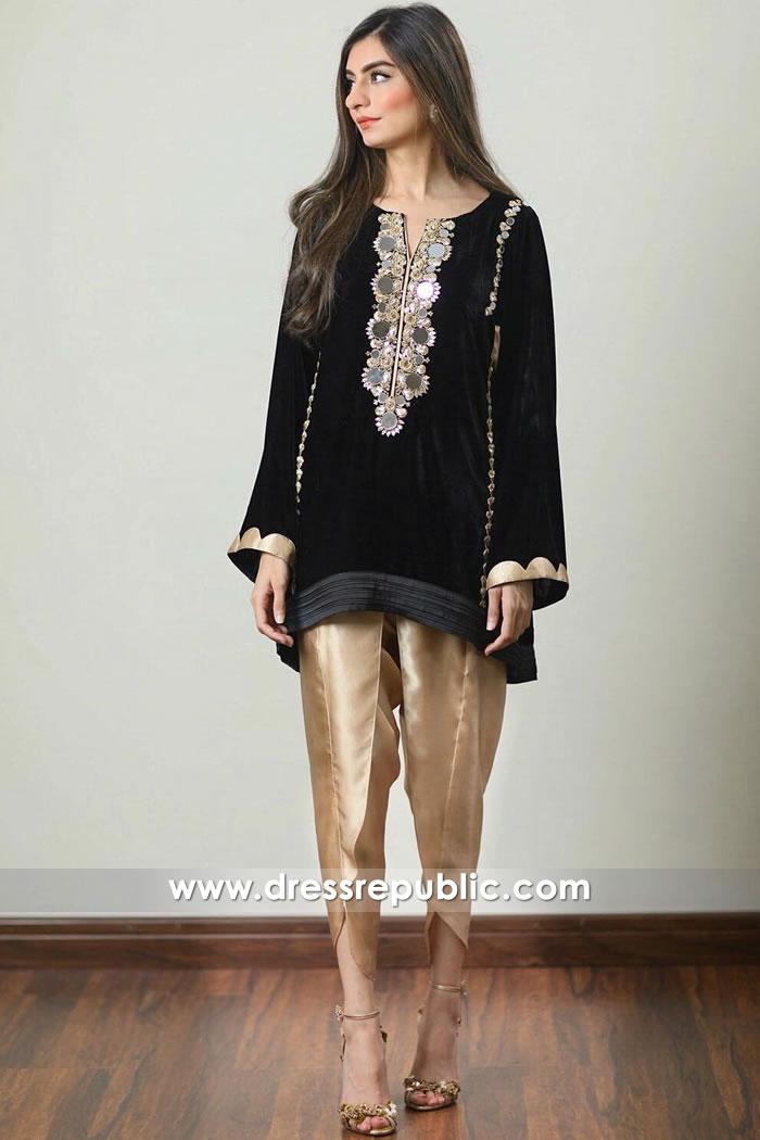 DR14915 Pakistani Designer Velvet Kurti Australia With Tulip Pants Shop Online