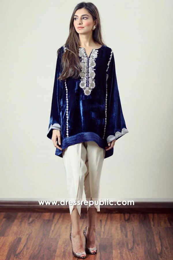 DR14916 Pakistani Designer Velvet Dresses USA, Canada Winter 2018, 2019