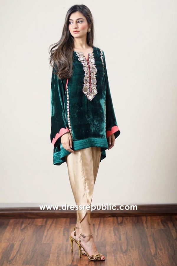 DR14917 Pakistani Designer Velvet Dresses UK, Ireland Winter 2018, 2019