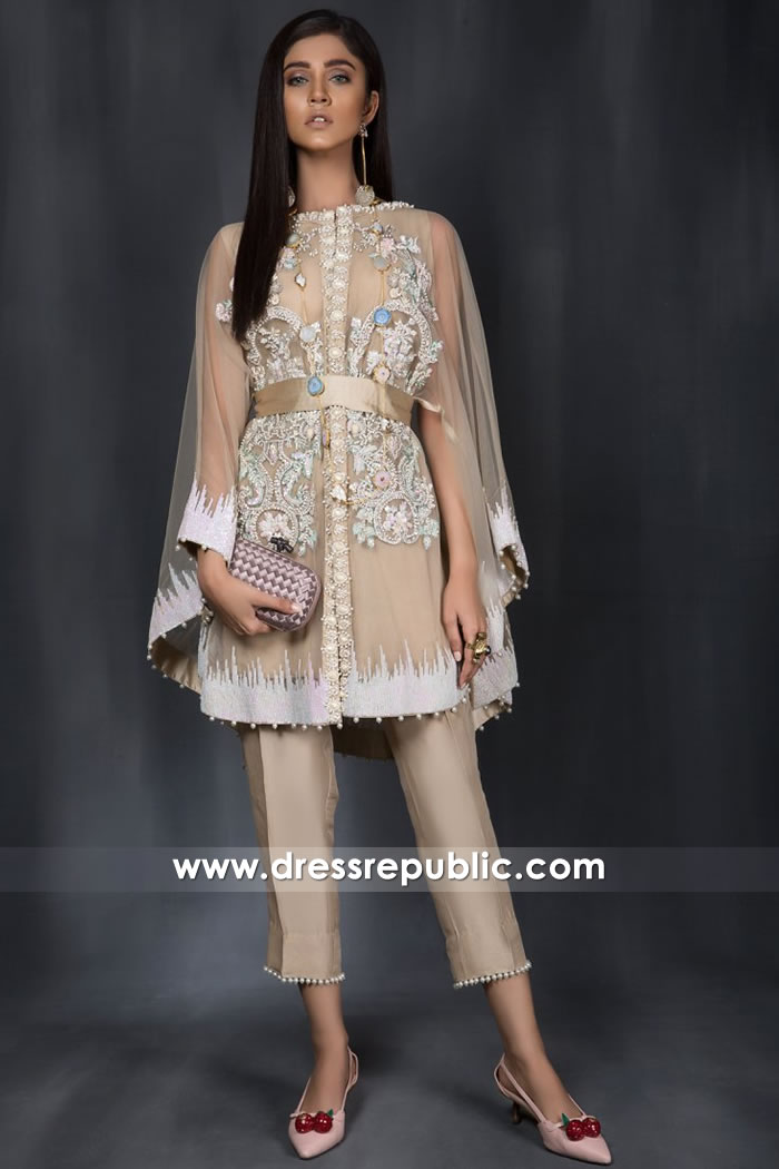 DR14969 Pakistani Cape Dresses Online 2018 Los Angeles, San Francisco, San Diego