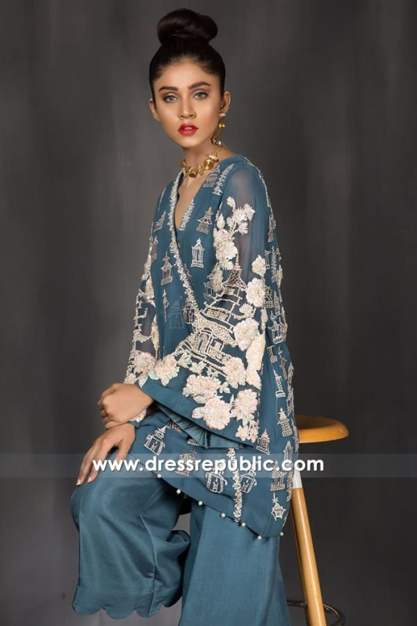 DR14970 Blue Willow Embroidered Wrapover Dress for Evening Party in UK