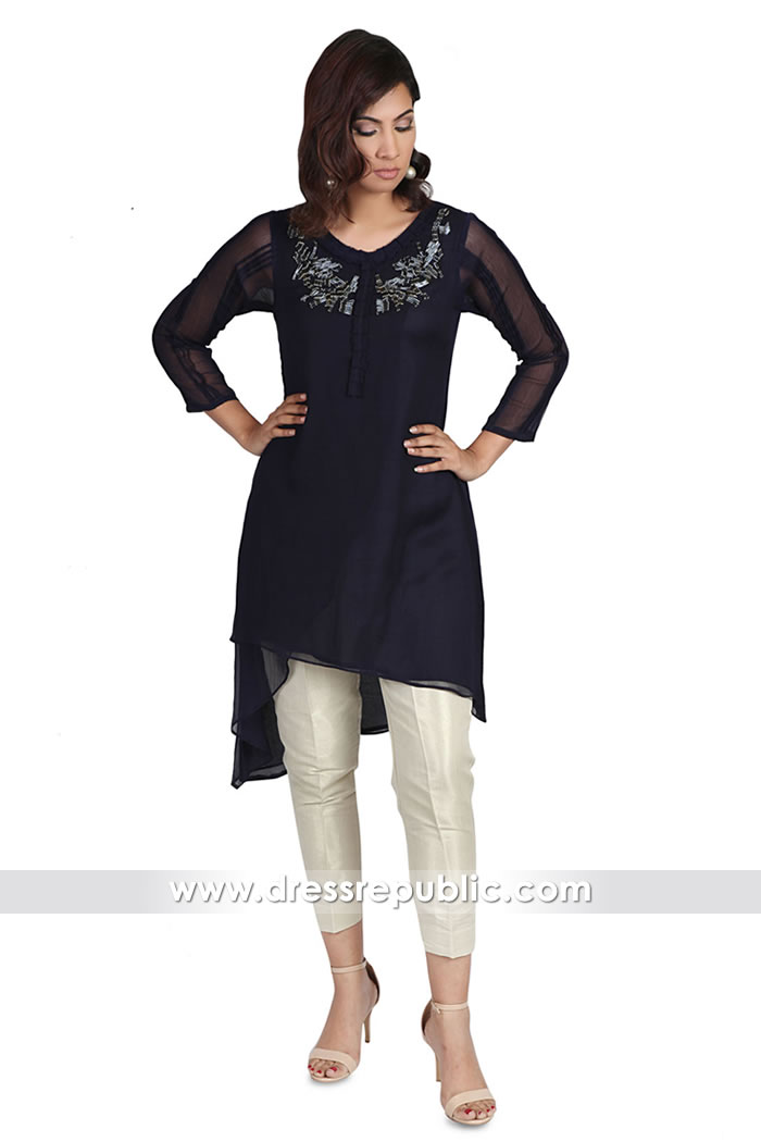 DRK1001 Black Chiffon Kurti 2018 Houston, Dallas, San Antonio, Sugar Land, Texas