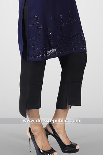 DRL1008 Casual Pants in Black with Flip Slits Latest Cotton Pants Trends in Pakistan