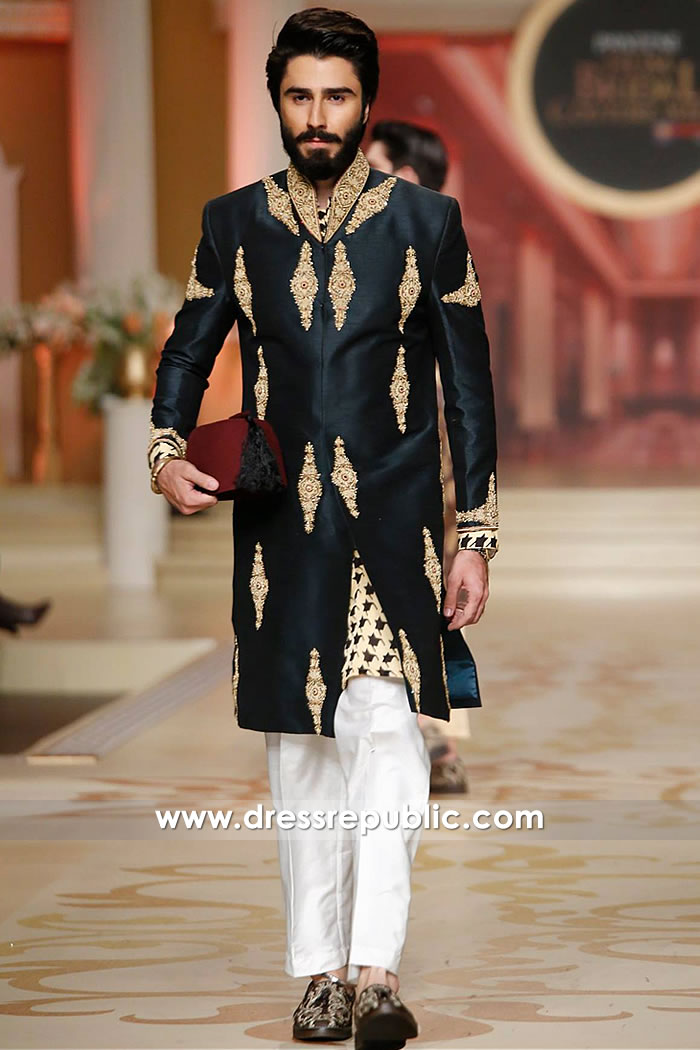 DRM5213 Junaid Jamshed Black Sherwani Broadway, Hicksville, New York