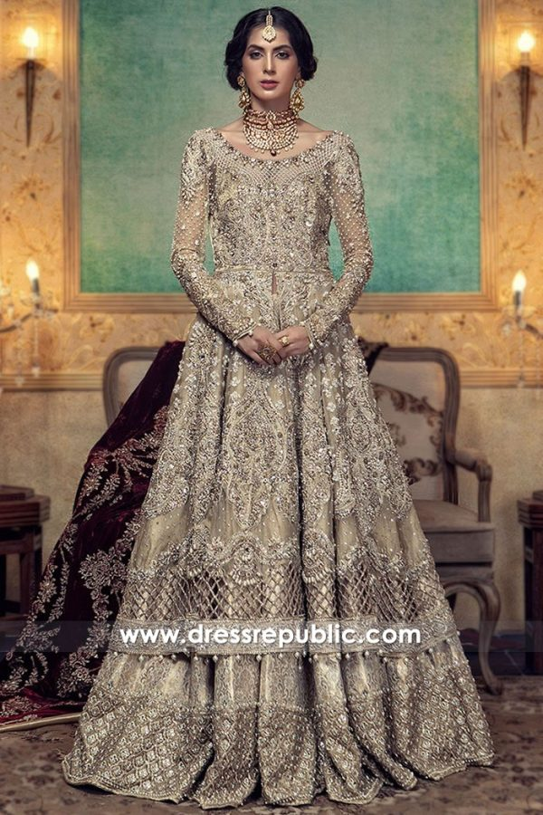 DR15004 Maria B Bridal Lehenga 2018 in Champagne Buy in UK, USA, Canada