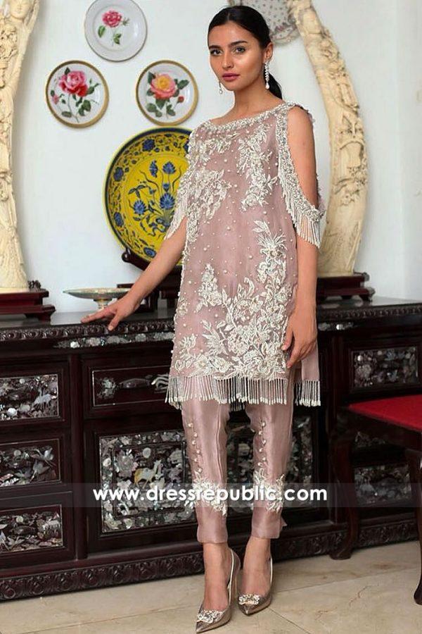 DR15017 Mauve Organza Shirt with Raw Silk Pants - Pakistani Designer Dress