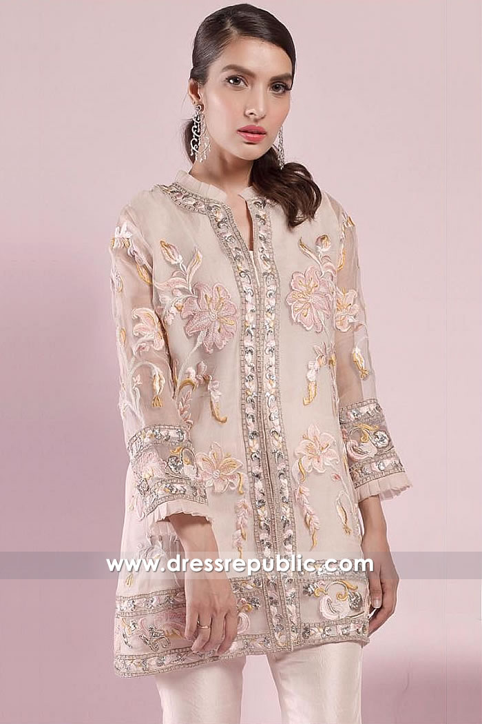 DR15023 Pakistani Indian Party Wear Floral Embroidered Jacket Online California