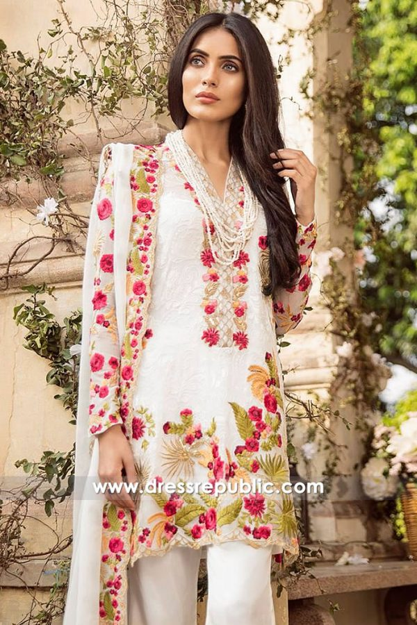 DRP7824 Pakistani Designer Chiffon Embroidered Dresses 2018 With Stitching Online