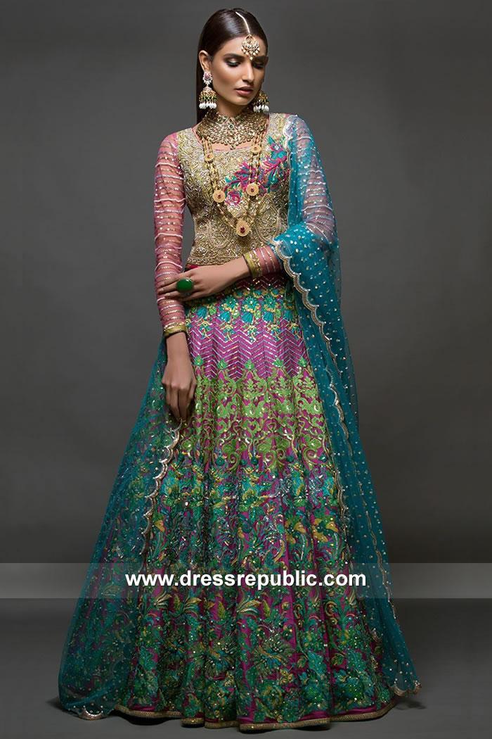 DR15085 Nomi Ansari Mehndi Dresses, Pakistani Mehndi Night Birdal Dress