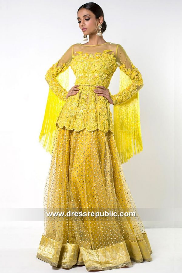 DR15088 Heavy Formal Yellow Mayoon Dress for Bride Online Shopping