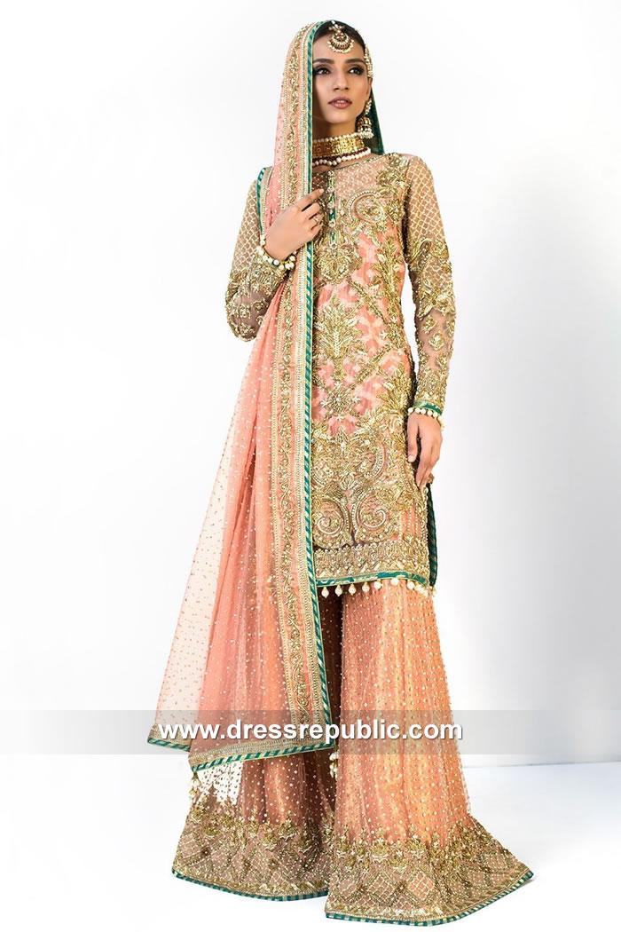 DR15093 Nomi Ansari Wedding Sharara USA Shop Online Pakistani Designers