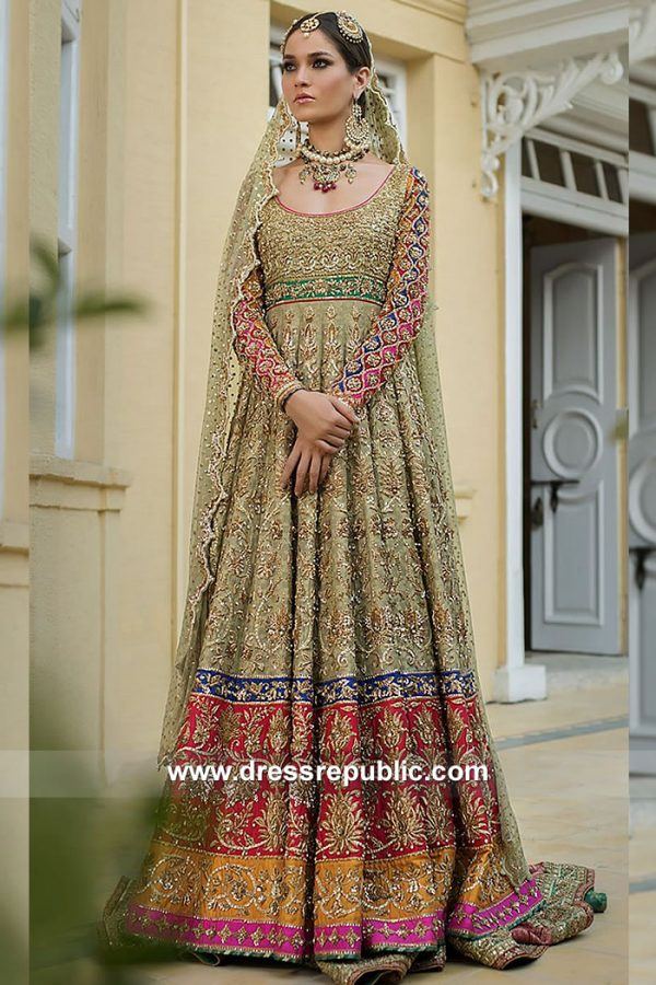 DR15103 Traditional Pakistani Designer Bridal Dress in USA Online Shopping