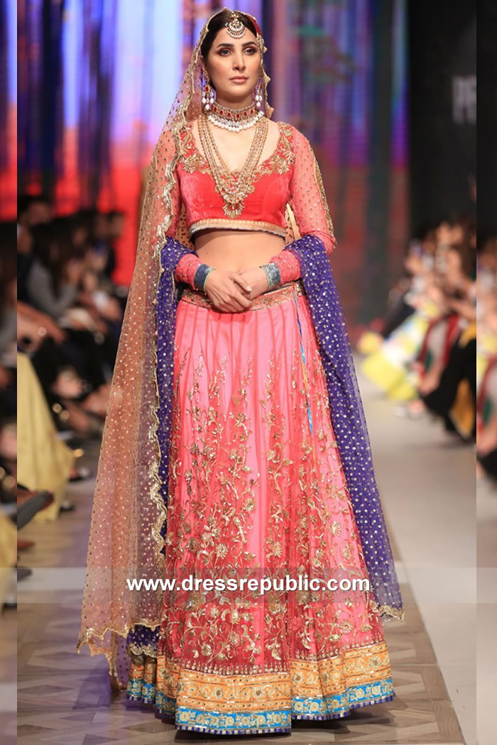 DR15113 Nomi Ansari Pink Lehenga Choli France, Germany, Norway, Holland