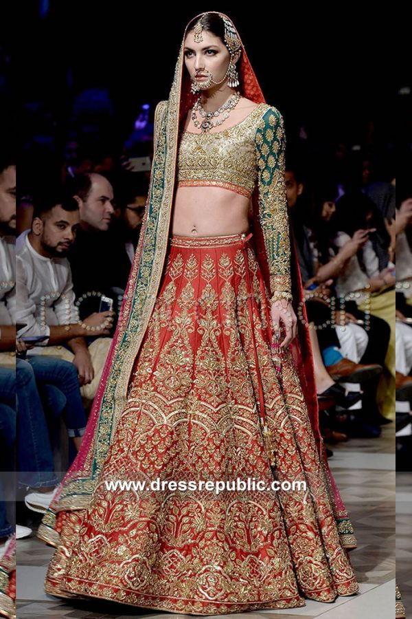 DR15119 Asian Bridal Lehenga for Wedding, Nikkah, Sikh Wedding in Ruby Red