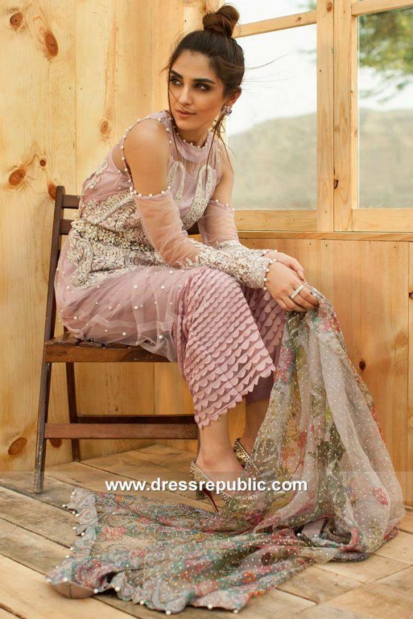 DRP7842 Crimson Luxe Saira Shakira 2018 Organza Embroidered 3 Piece Suit