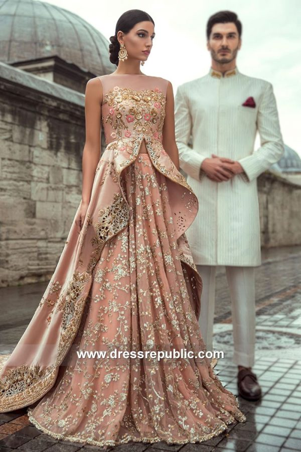 DR15139 Pink Bridal Gown for Pakistani, Indian, Bengali, Sikh Bride Shop Online