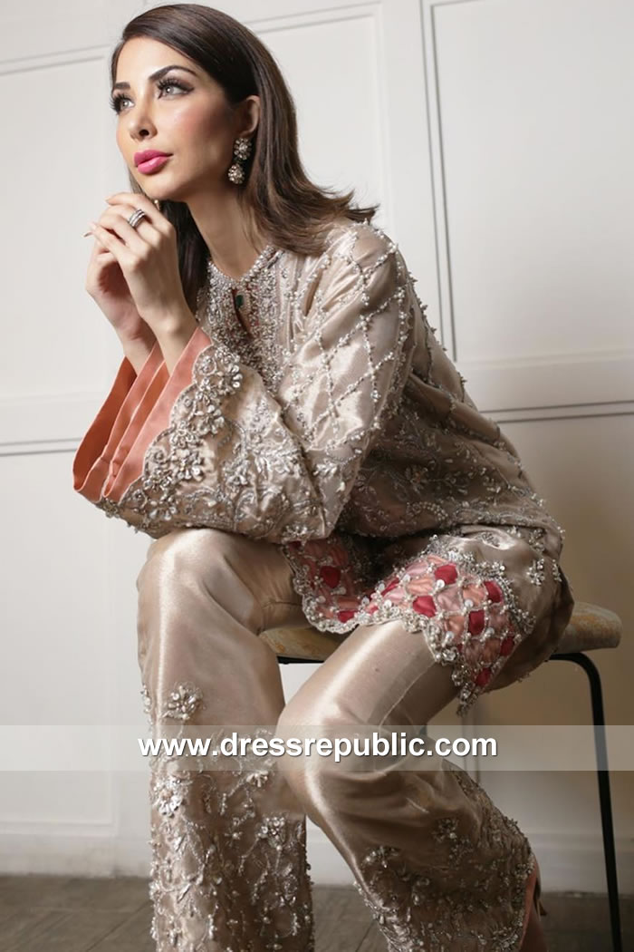 DR15152 Dark Champagne Pakistani Party Dress Buy Online in Manchester