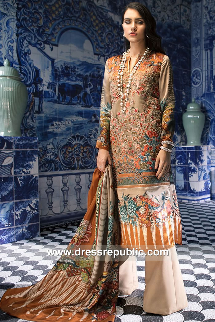 DRP7874 Sana Safinaz Silk Collection 2018 Bahrain, Oman, Brunei, Egypt