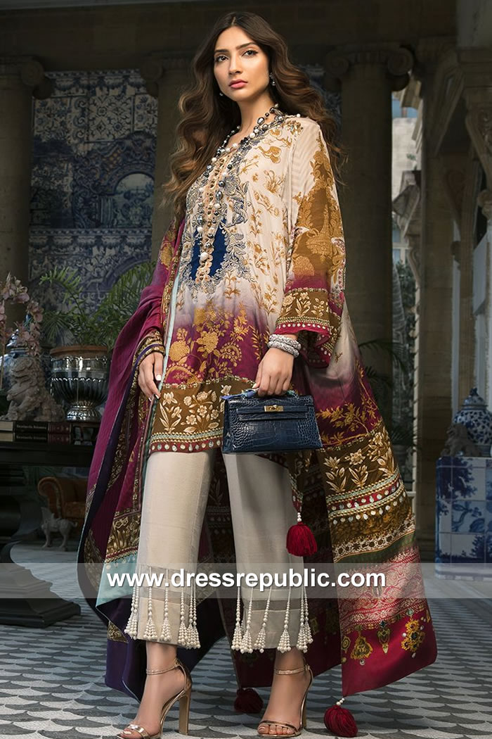 DRP7882 Sana Safinaz Silk Collection 2018 Chicago, Houston, Dallas, Miami