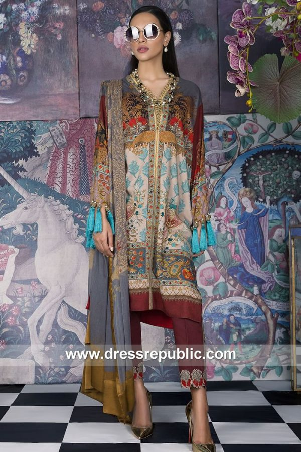 DRP7904 Sana Safinaz Winter Collection 2018 San Diego, Dallas, San Jose, Austin