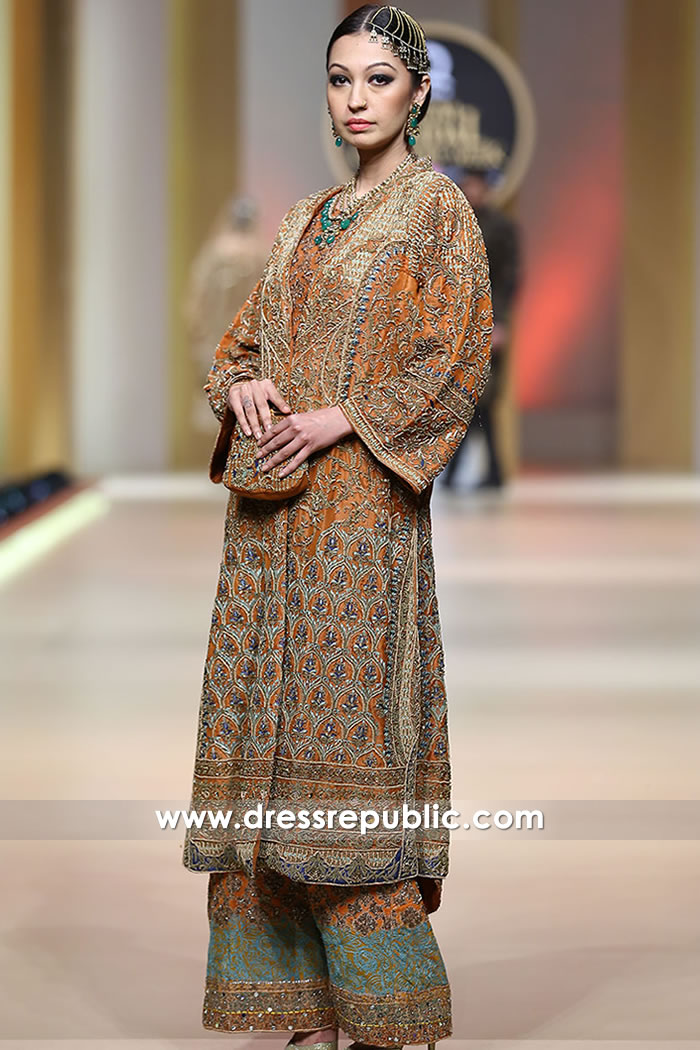 939e0abe41 DR15194 HSY Mehndi Dresses, Burnt Orange Special Occasion Dress by HSY