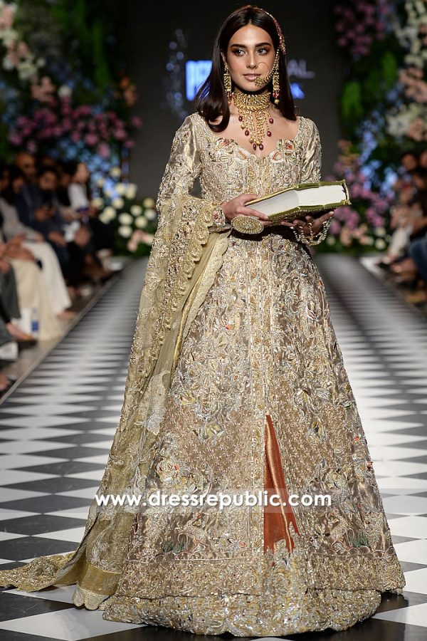 DR15218 Pakistani Designer Dresses for Winter 2018 Wedding USA