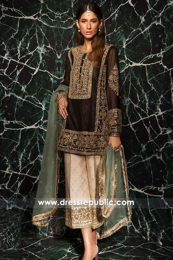 DR15263 Brown Salwar Kameez Trousers Suit for Christmas in New York, USA