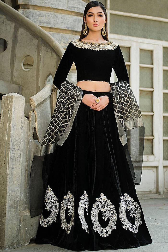 DR15281 Zainab Chottani Black Lehenga Buy Velvet Lehenga Choli in UK