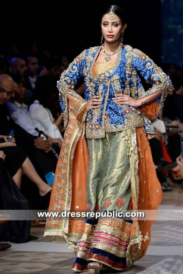 DR15307 Royal Blue Wedding Sharara for Walima Reception Bride 2019 Collection