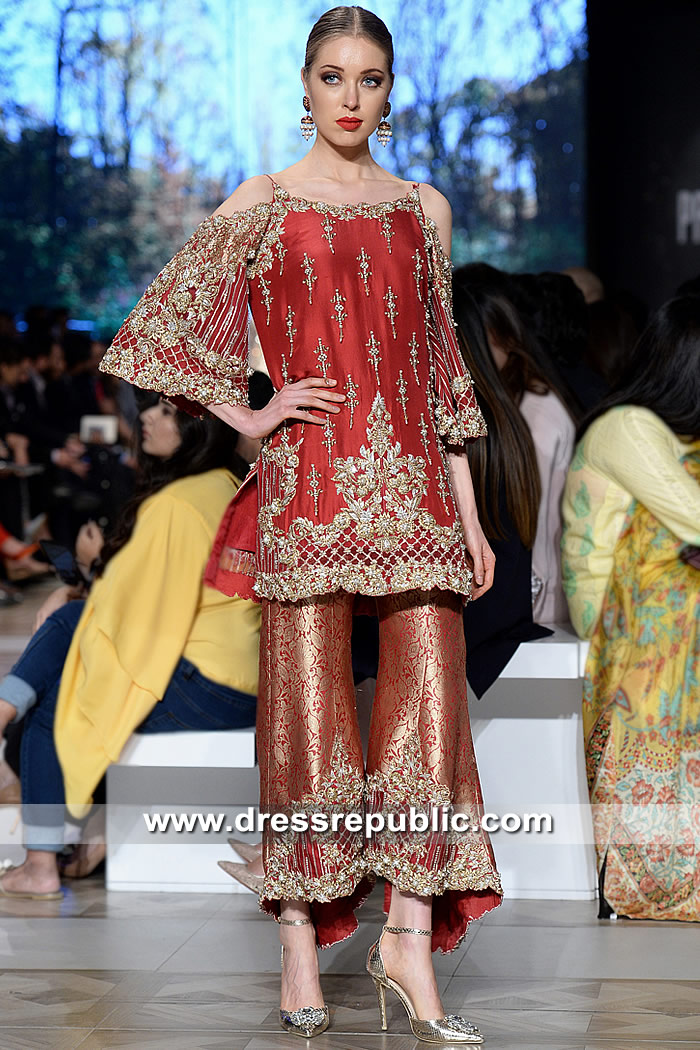 506e46d5ee6 DR15317 Deep Red Designer Wedding Guest Dress for Pakistani Indian Women