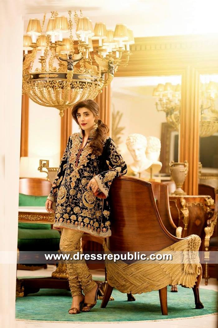 DR15335 Black Velvet Salwar Kameez Suit for Wedding Guest Wear in 2019