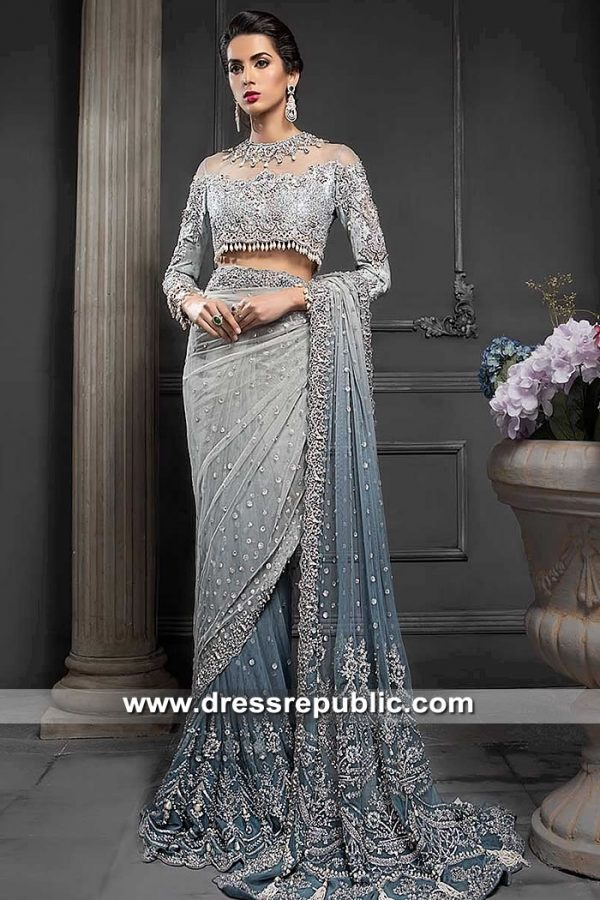 DR15343 Maria B Bridal Sarees 2019 Heavy Formal Wedding Saree Shop Online